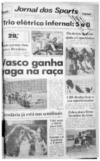 Capa do Jornal dos Sports - Vasco elimina o Colo Colo na Libertadores de 1990: Na foto da matéria o goleiro Acácio defende a cobrança de Espinosa
