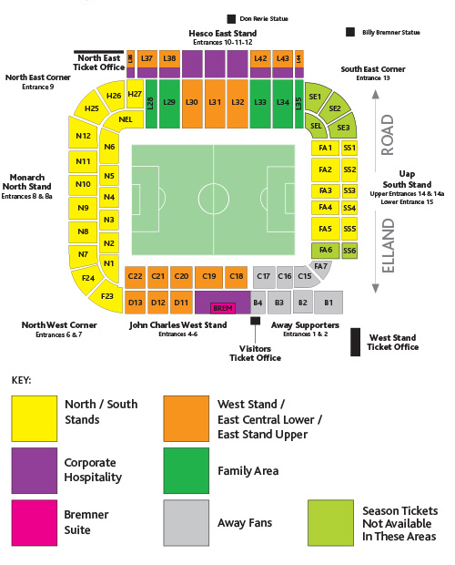 Elland Road Stadium - map