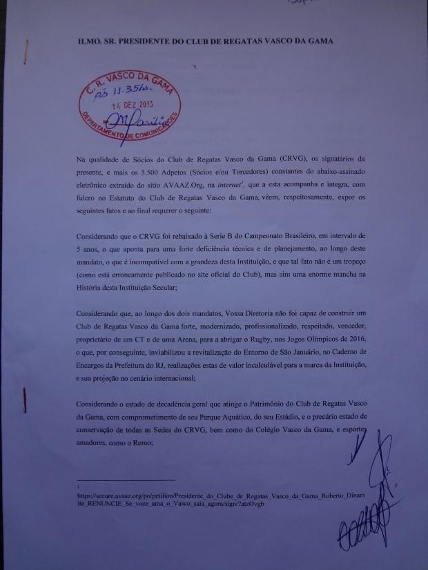 A petição contendo o pedido de renúncia do Presidente Roberto Dinamite